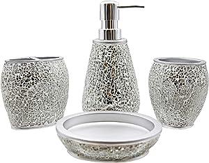 Marina Decoration Luxury Modern Décor 4 Piece Bath Accessories Set Ensemble Included Bathroom Liquid Soap Lotion Dispenser Pump Toothbrush Holder Tumbler Soap Dish, Casper Mosaic Glass Silver Style