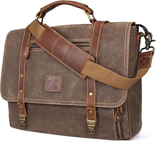 Manificent Laptop Messenger bag for Mens 15.6 Inch, Waterproof Vintage Genuine Leather Mens Briefcase shoulder bag 16 Storage Pockets, Waxed Canvas Leather Computer Business Satchel Work Bag Brown