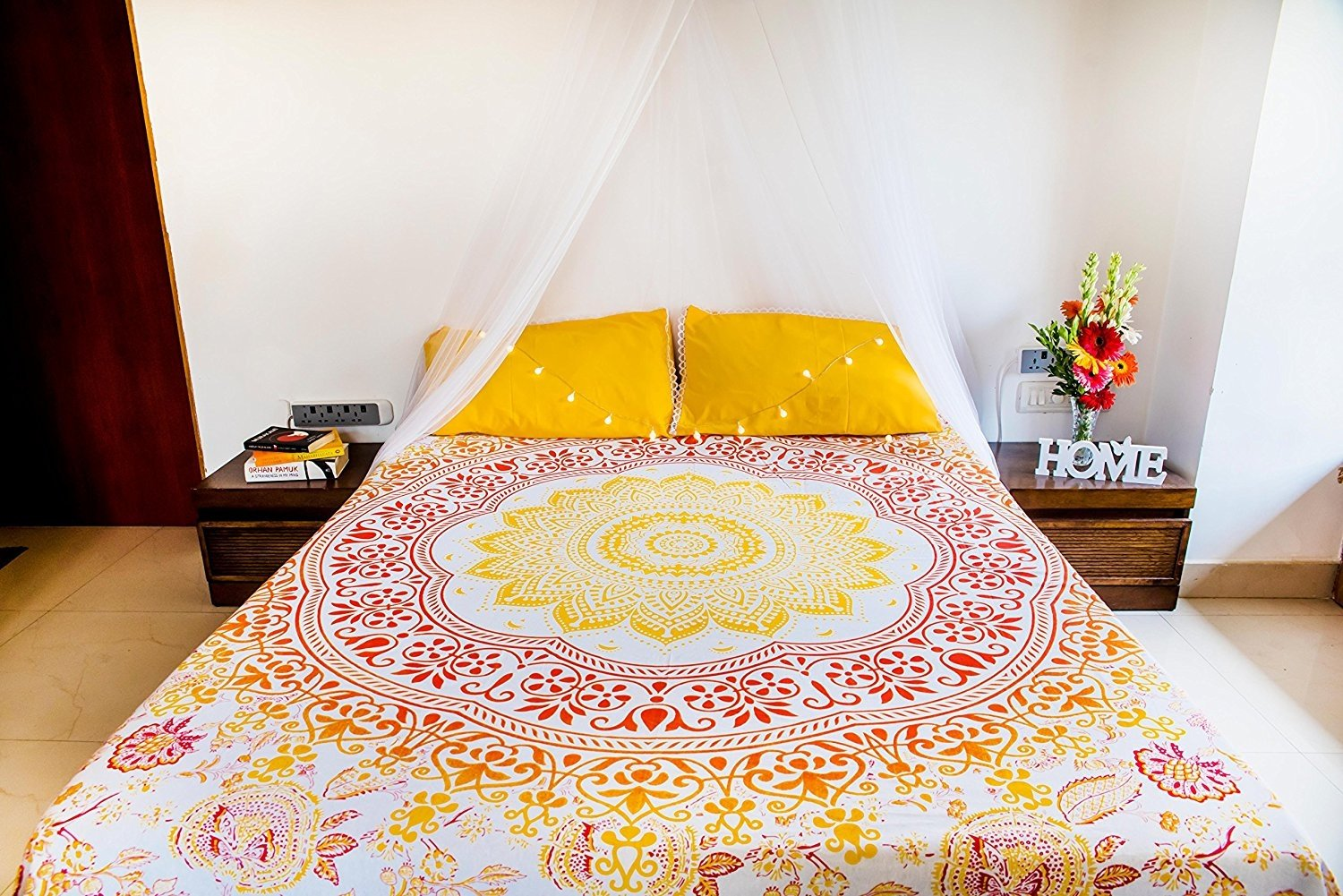 Folkulture Sunflower Mandala Tapestry Bedding with Pillow Covers, Indian Bohemian Wall Hanging, Picnic Blanket or Hippie Beach Throw, Hippy Ombre Bedspread for Bedroom, Queen Size Yellow Boho Spread FMT37