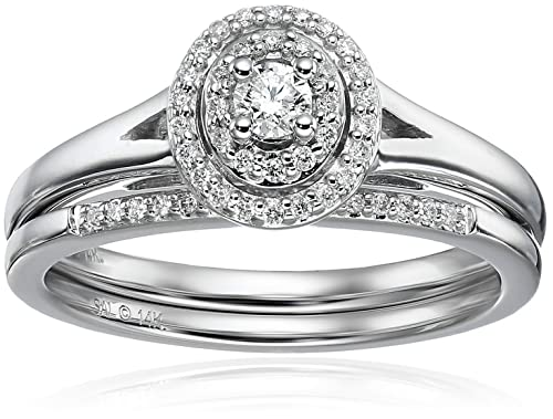 14k White Gold 1/4CTTW Diamond Round Halo Bridal Engagement Ring (1/4cttw, H-I Color, I2 Clarity), Size 7
