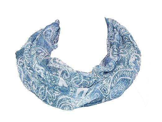 Bonita Damen Halstuch Schal Paisley Muster blau rosa
