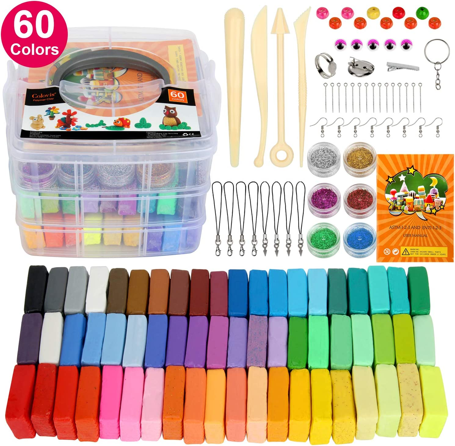 Polymer Clay,Colovis 60 Colors Oven Bake Clay,DIY Modeling Clay Kit with 5 Scuplting Tools, 6 Colors Mica Powder and Kinds of Accessories in Storage Box,Best Gift for Kids.