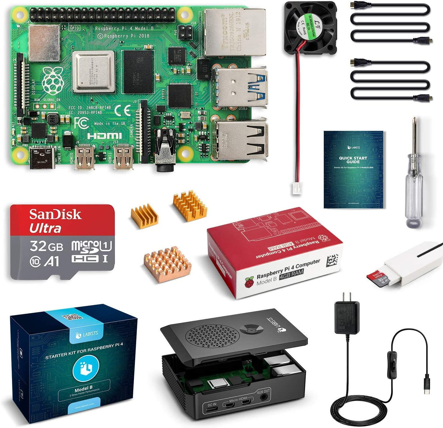 ABOX Raspberry Pi 3 B+ Complete Starter Kit with Model B Plus Motherboard 16GB Micro SD Card NOOBS, 5V 3A...