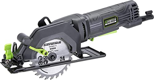 Genesis GCS445SE 4.0 Amp 4-1 2 Compact Circular Saw with 24T Carbide-Tipped Blade, Rip Guide, Vacuum Adapter, and Blade Wrench