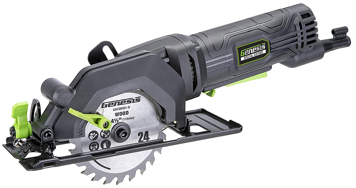 4.0 Amp 4-1/2 in. Compact Circular Saw with 24T blade, Rip Guide, Vacuum Adapter, and blade wrench