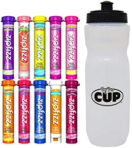 Zipfizz Energy Drink Mix Variety, 10 Caffeinated Flavors with By The Cup Sports Bottle