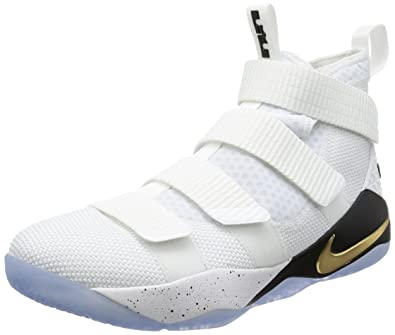 Nike Men\u0027s Lebron Soldier 11 SFG EP, WHITE/BLACK-METALLIC GOLD, 10.5