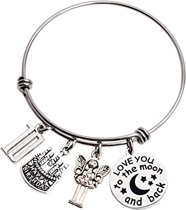 Amazon Com 10th Birthday Gifts For Girls 10 Year Old Girl Gift Bangle Love You To The Moon And Back Ddecorations Jewelry Set Clothing