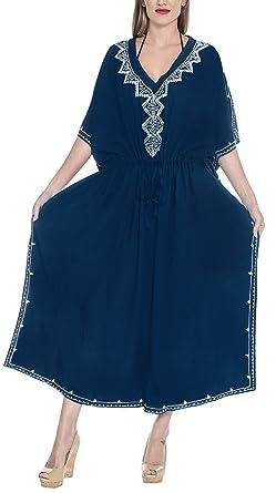 LA LEELA Mujeres caftán Rayón túnica Bordado Kimono Libre tamaño Largo Maxi Vestido de Fiesta para