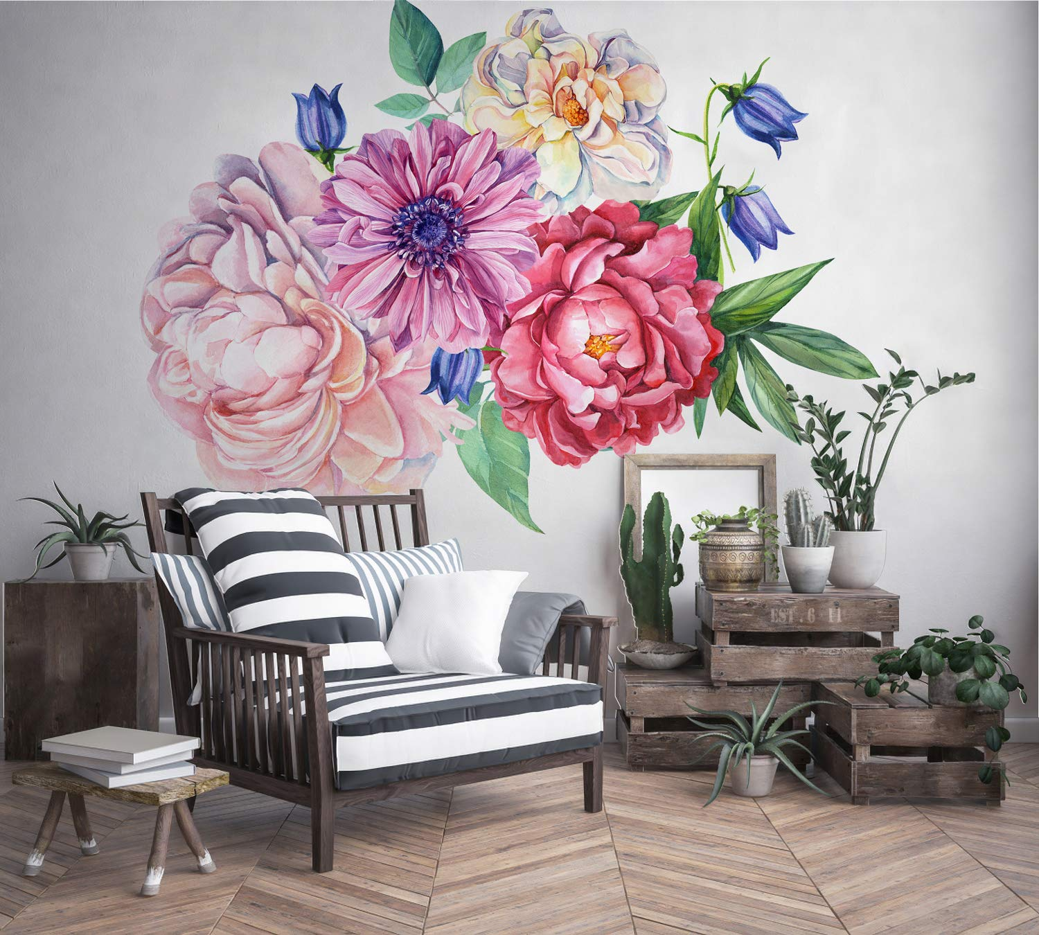 Murwall Peony Large Floral Wall Decal for Bedroom Watercolor Floral Wall  Sticker for Livingroom Red Pink Peonies Tulip Daisy Bouqet Decals Colorful  ...