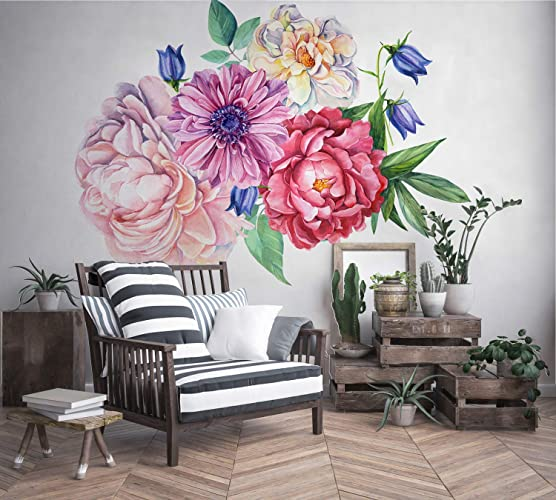 Amazon.com: Murwall Peony Large Floral Wall Decal for Bedroom ...