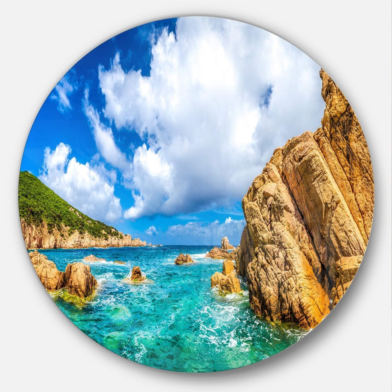 Amazon Com Designart Costa Paradiso Close View Seashore Photo Metal Artwork Disc Of 38 Inch 38x38 Disc Blue Brown Posters Prints