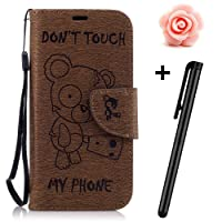 Galaxy S8 case,Samsung Galaxy S8 Flip Wallet Case,TOYYM Premium Bear Don't touch my phone Pattern PU Leather Wallet Case Cover Pouch [Magnetic Closure] with Card Slots for Samsung Galaxy S8,Kickstand,Credit Card Holder,Book Style Flip Wallet with Flower Dust Plug&Stylus