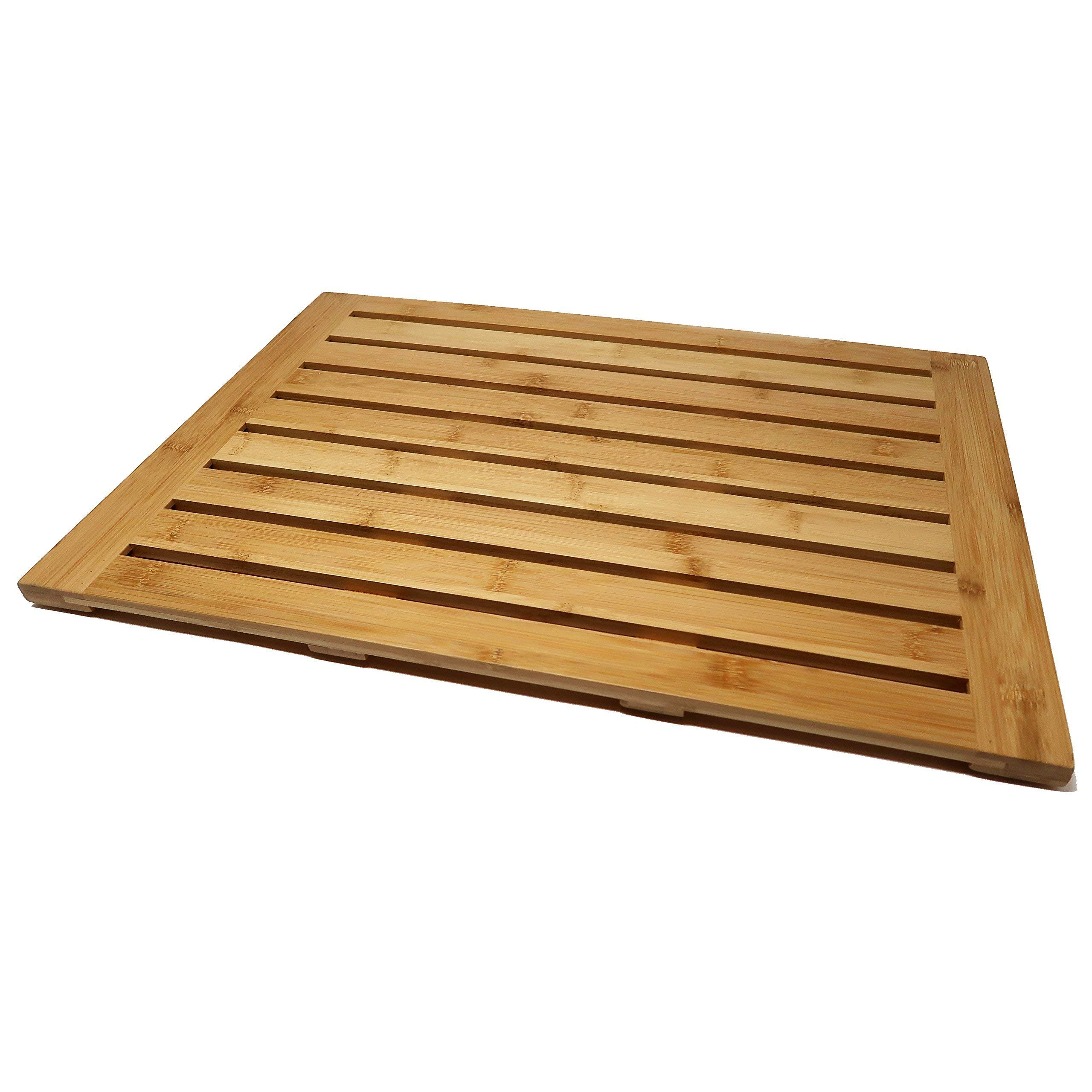 P3 & Company Bamboo Bath Shower Floor Mat for Home Sauna Spa