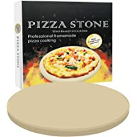 VIKEYHOME Round Pizza Stone, Heavy Duty Cordierite Pizza Grilling Stone, Baking Stone, Pizza Pan, Perfect for Oven, BBQ…