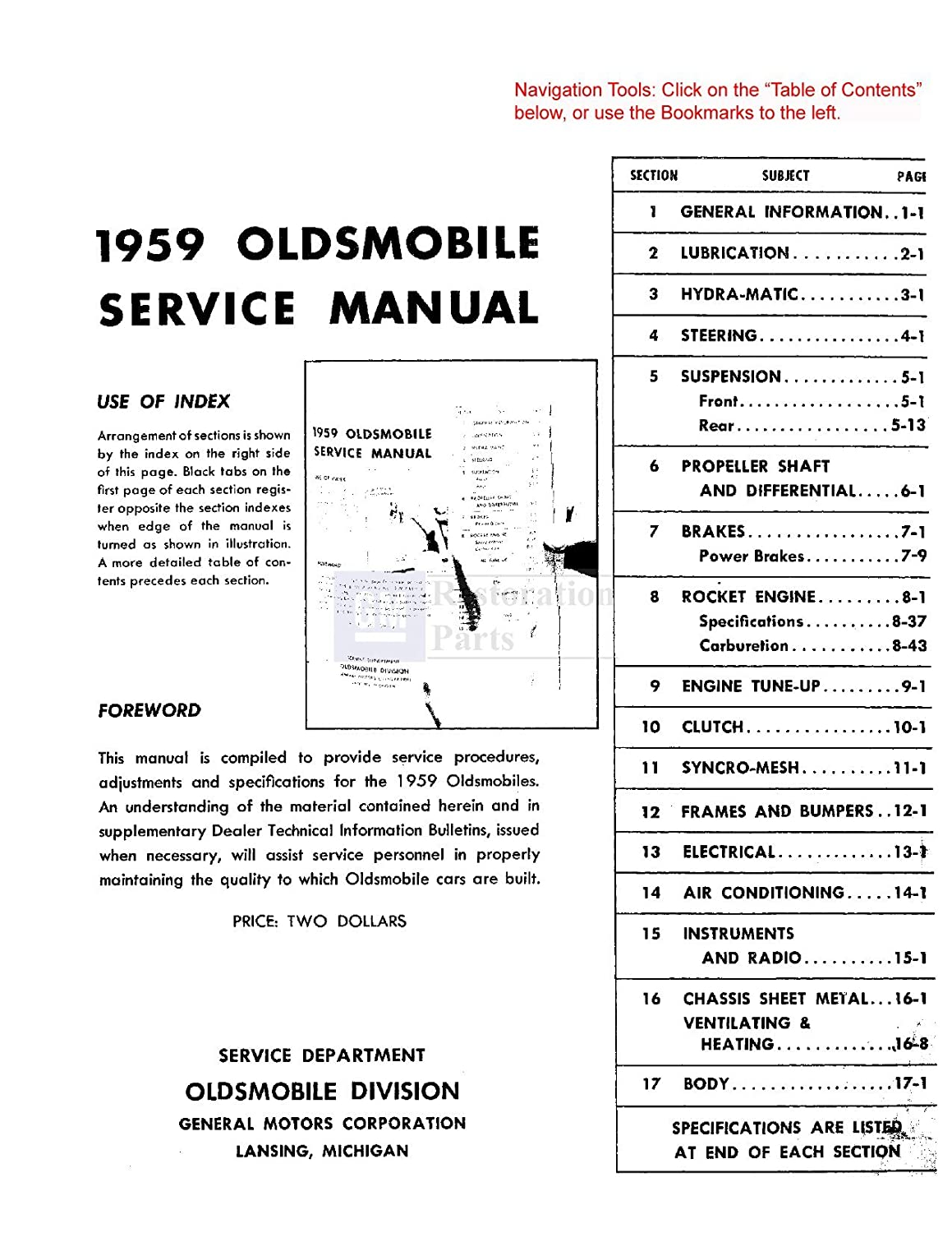 Amazon.com: 1959 Oldsmobile 98 Super 88 Fiesta Shop Service Repair Manual Book Engine: Automotive