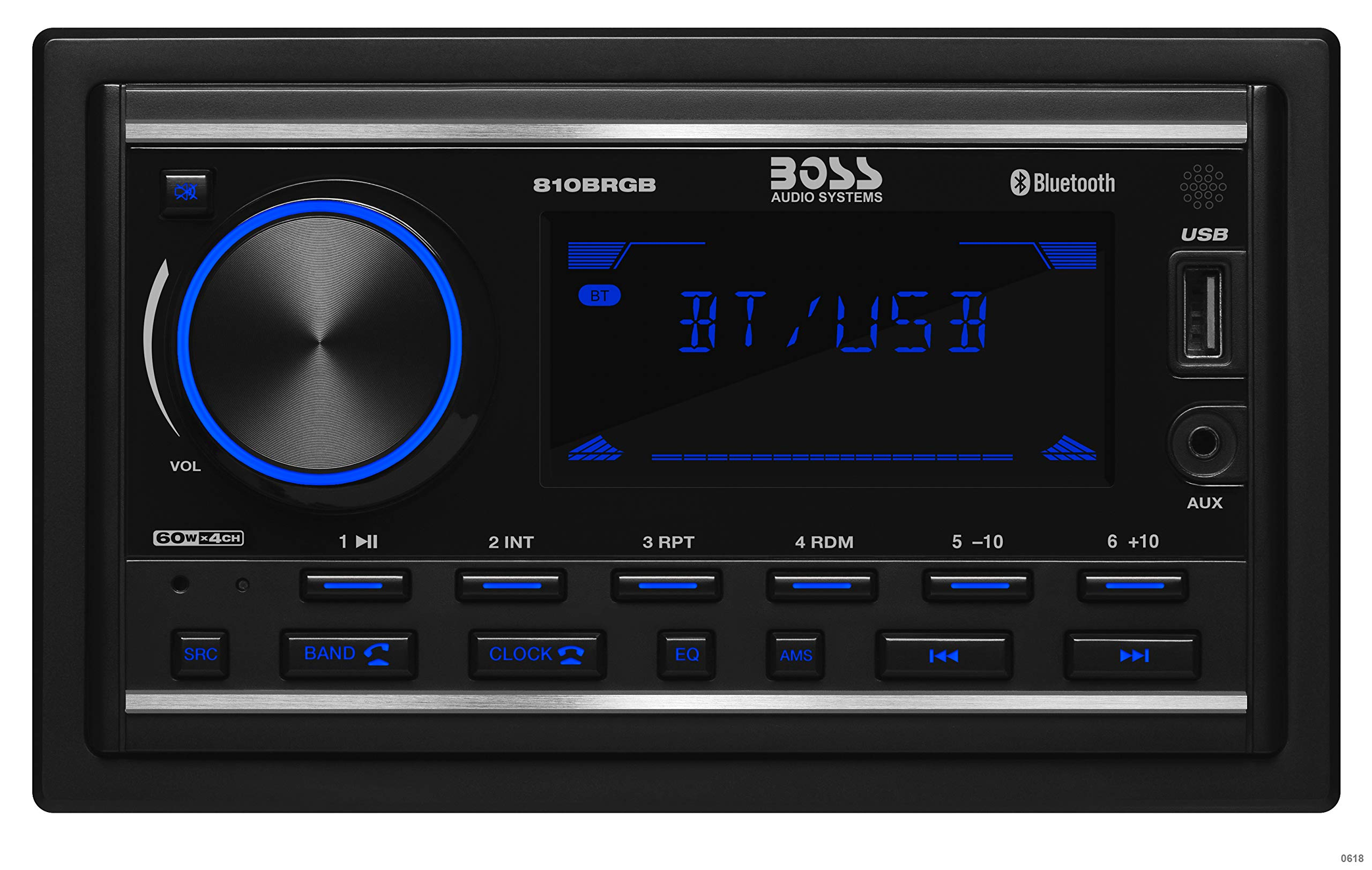 BOSS Audio 810BRGB Multimedia Car Stereo – Double Din, Bluetooth Audio and Calling, MP3 Player, USB Port, AUX Input, AM/FM Radio Receiver, (No CD/DVD), Multi Color Illumination