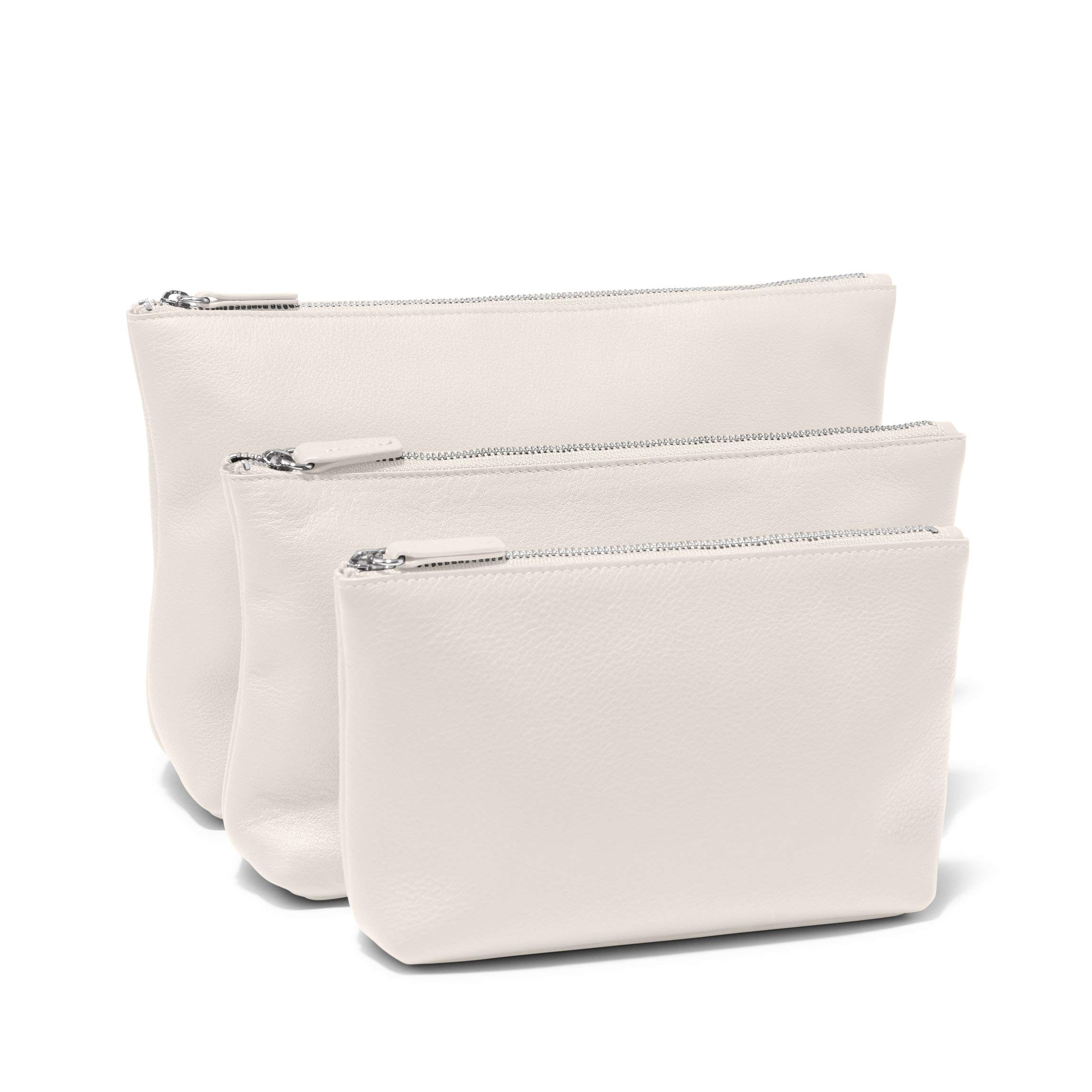 Standing Pouch Trio - Italian Leather Leather - Ivory (White)