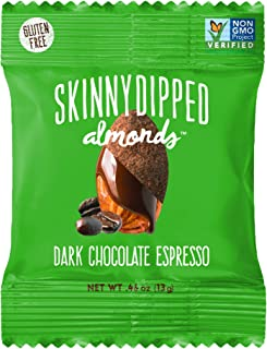 product image for SKINNYDIPPED ALMONDS Dark Chocolate Espresso Covered Almonds, 1.5 Ounce Bag, Pack of 10