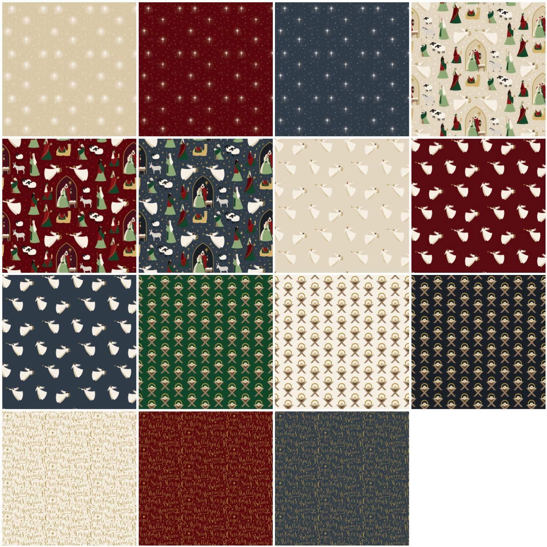 15pcs. Riley Blake Precut Fabric Oh Holy Night Fat Quarter Bundle