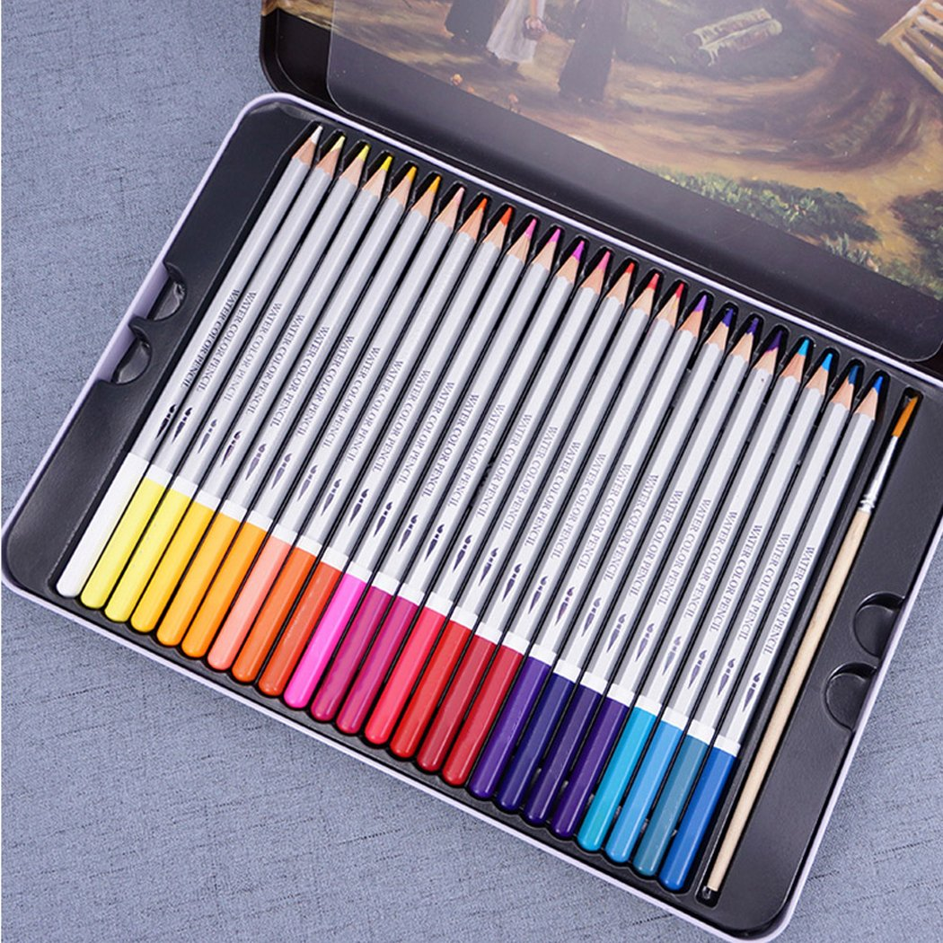 Funrui watercolour pencils set aquarelle pencils water soluble colour pencils with paint brush for children adult artist iron box packing pack of 48