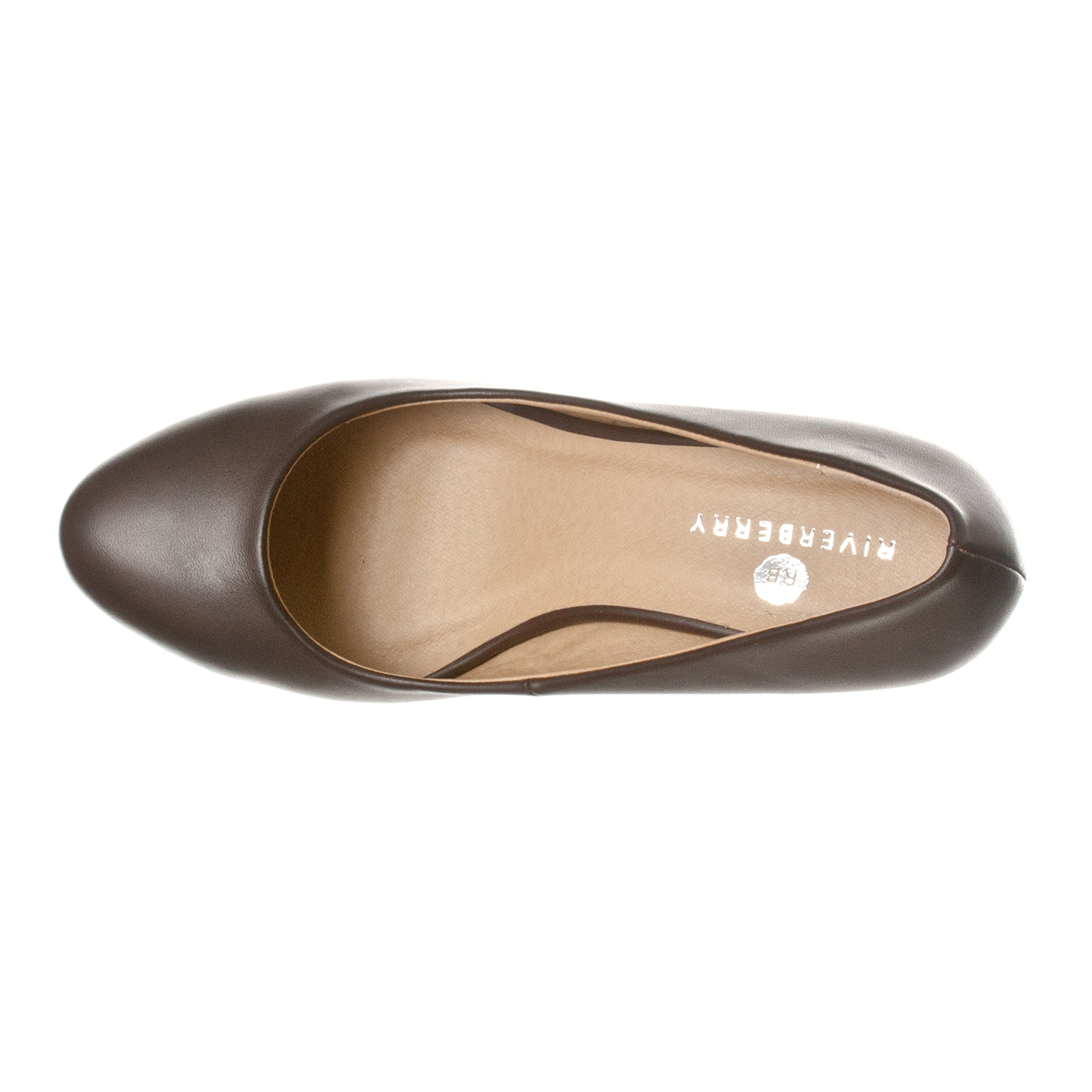Riverberry Women's Leah Mid Heel Round Toe Wedge Pumps, Coffee PU, 9 by Riverberry (Image #3)