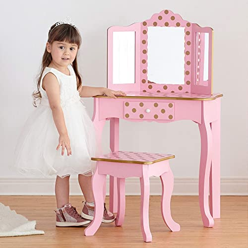 Teamson Kids Pretend Play Kids Vanity Table and Chair Vanity Set with LED Mirror Makeup Dressing Table with Drawer Fashion Polka Dot Prints Gisele Play Vanity Set Pink Rose Gold