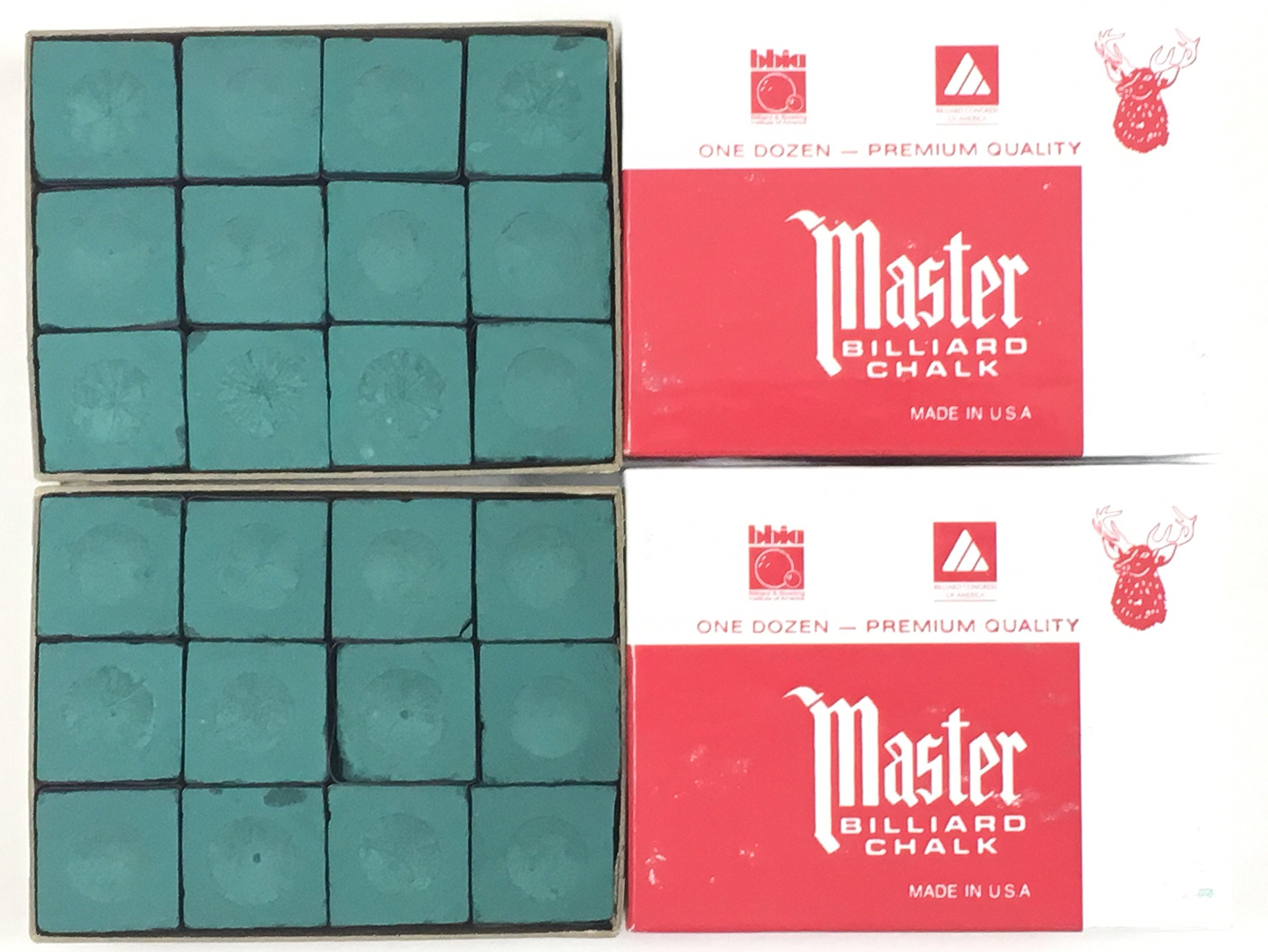 Made in the USA - 2 Boxes of Master Chalk - 24 Pieces for Pool Cues and Billiards Sticks Tips (Forest Green) by Master Chalk (Image #1)