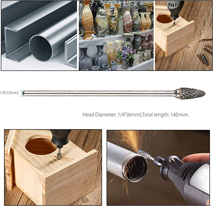 "Shank Long Double Cut Tungsten Carbide Burrs Rotary ... Yakamoz 10Pcs 3mm 1//8/"""