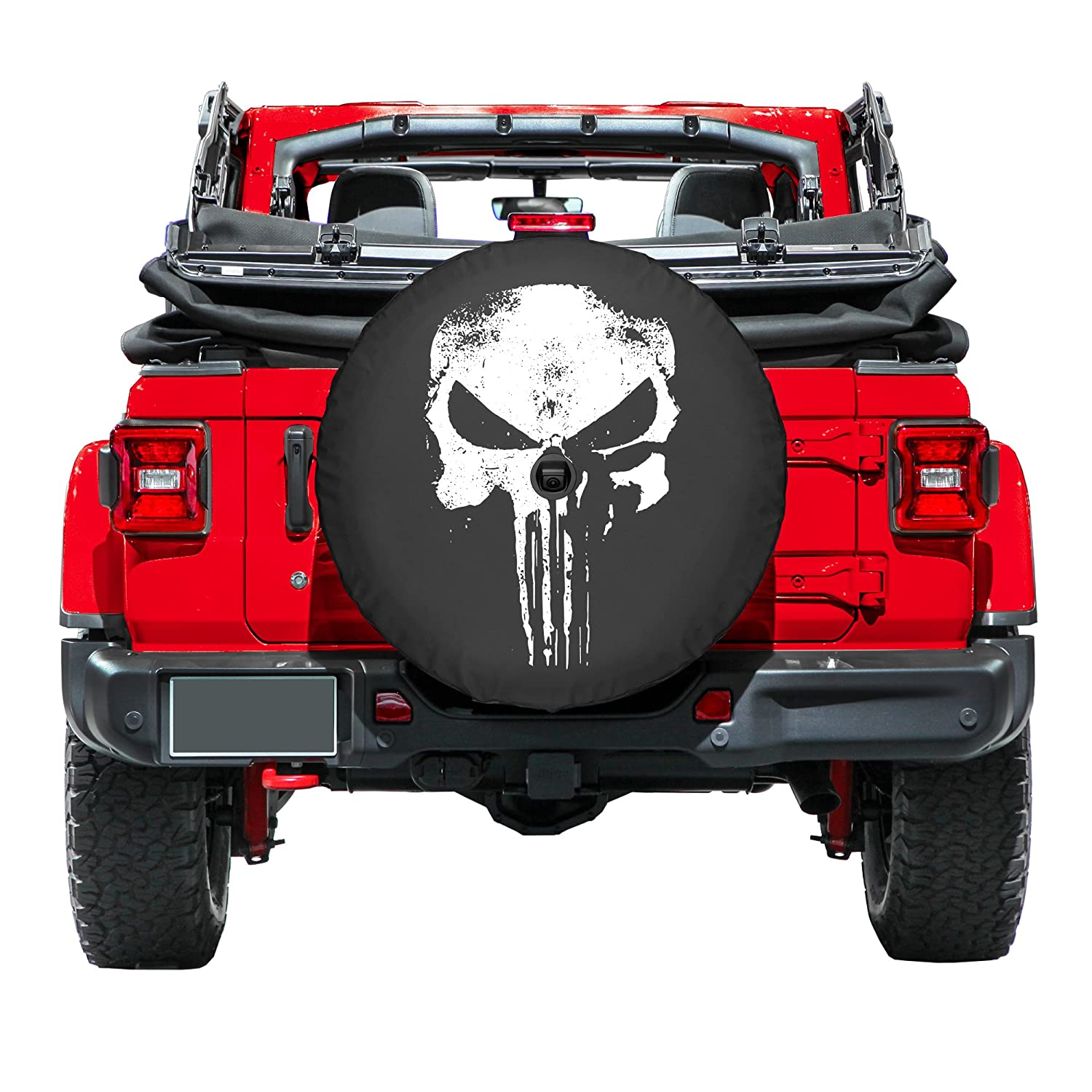 33 Soft JL Tire Cover for use with 2018-2019 Jeep Wrangler Rubicon JL with Back-up Camera - Distressed Punisher Skull Boomerang