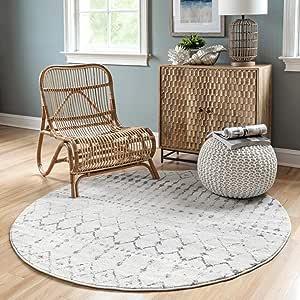 nuLOOM Moroccan Blythe Round Rug, 5' Round, Grey/Off-white