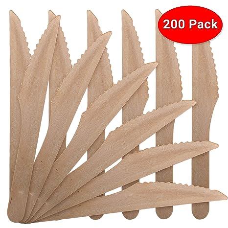 200 Premium Cuchillos De Madera Cubiertos Set - Desechable Biodegradable Compostables - 100% Madera de