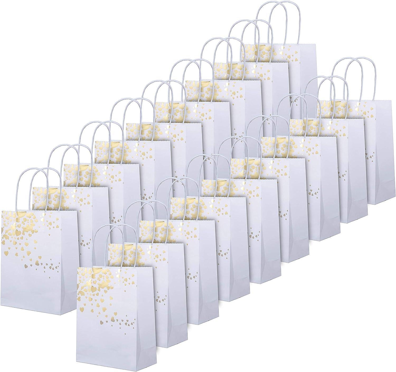 18 Piezas Bolsa de Papel con Asa - Bolsa Papel Kraft Blanco Despedida de Soltera con Adornos Corazones Oro Rosa para Bodas, Fiestas, Celebraciones en la Noche y Regalos - Bolsa Regalo