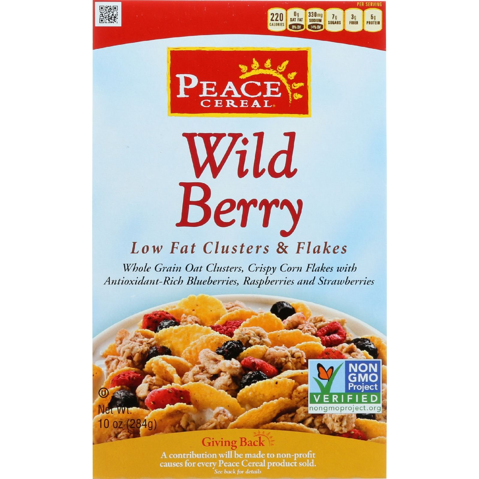 Peace Cereals Cereal - Clusters and Flakes - Low Fat - Wild Berry - 10 oz - case of 6 - - - - - -