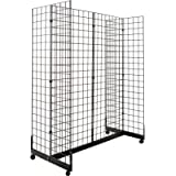 Only Hangers Gridwall Panel Display Fixture with Gondola Base - Black Grid Gondola Unit with Casters
