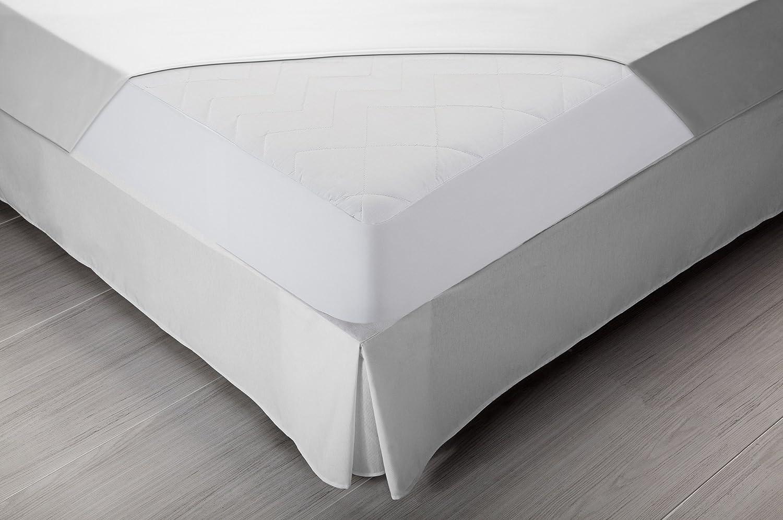 Pikolin Home - Protector de colchón acolchado cubre colchón, antialérgico, antiácaros, antibacterias y antimoho, transpirable, 100% algodón, 150 x 190/200 ...