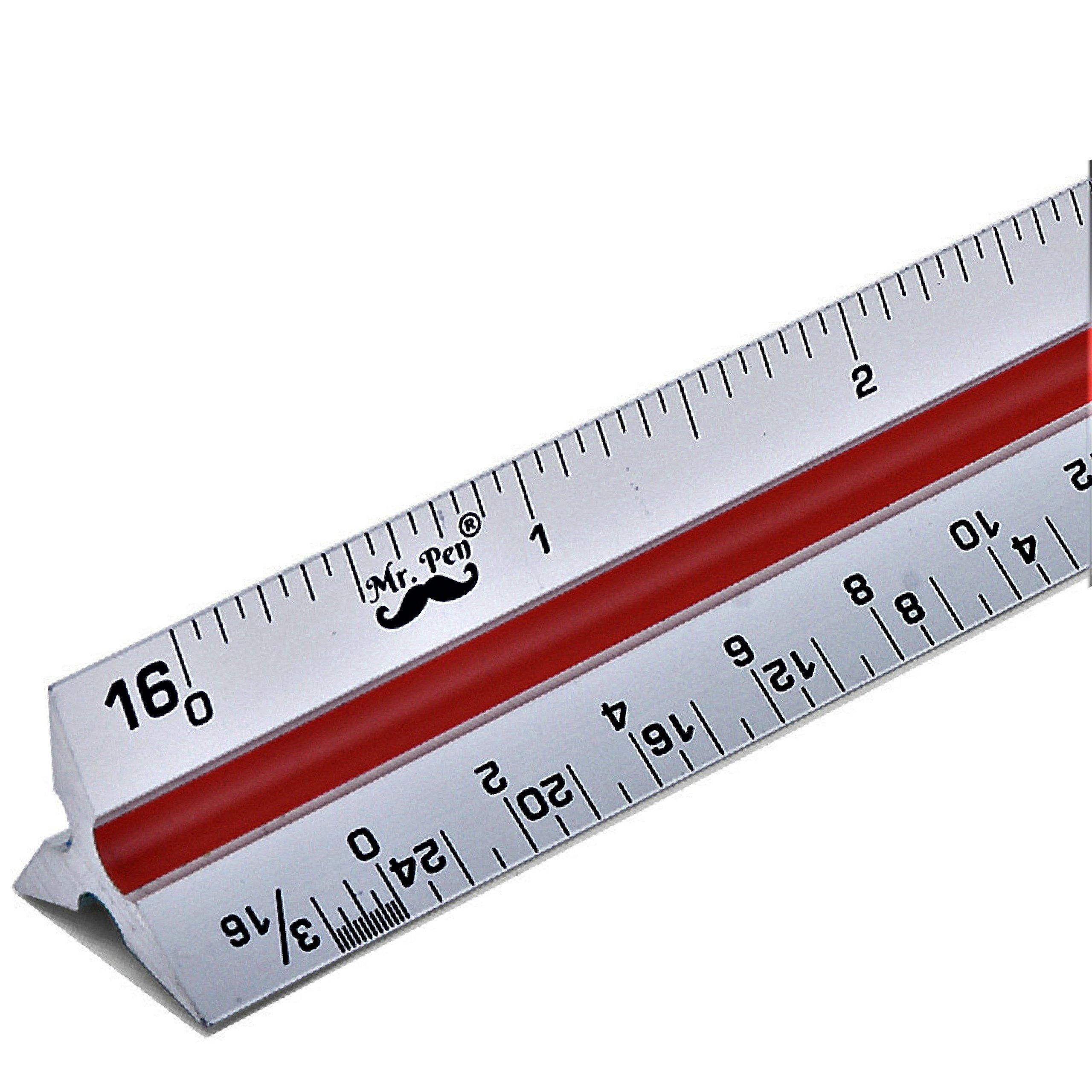 Mr. Pen - Architectural Scale Ruler, 12'' Aluminum Architect Scale, Triangular Scale, Scale Ruler for Blueprint, Triangle Ruler, Drafting Ruler, Architect Ruler, Metal Scale Ruler, Architecture Ruler