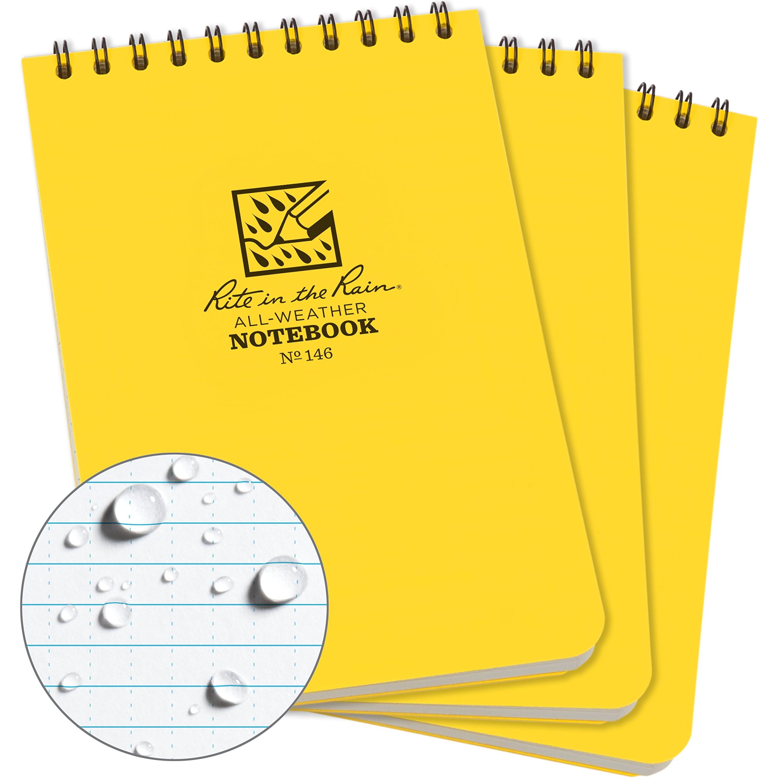 Rite in the Rain Weatherproof Top-Spiral Notebook, 4'' x 6'', Yellow Cover, Universal Pattern, 3 Pack (No. 146-3)