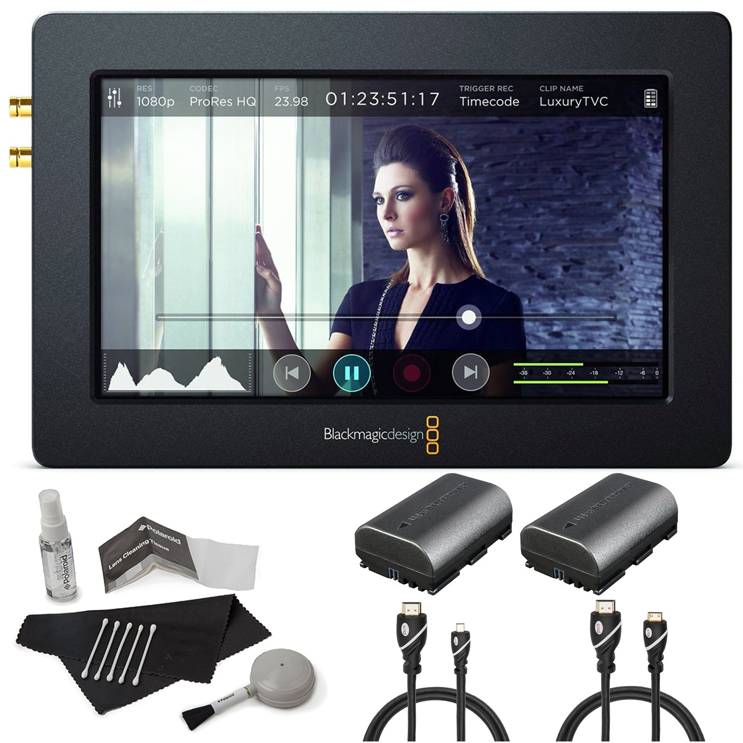 Blackmagic Design Video Assist with HDMI 6G-SDI Recorder 5'' Monitor 1920 x 1080 Display, 2 Batteries, Jumbl HDMI-A to Mini HDMI, Jumbl High-Speed HDMI to Micro HDMI, Cleaning Kit by Calumet