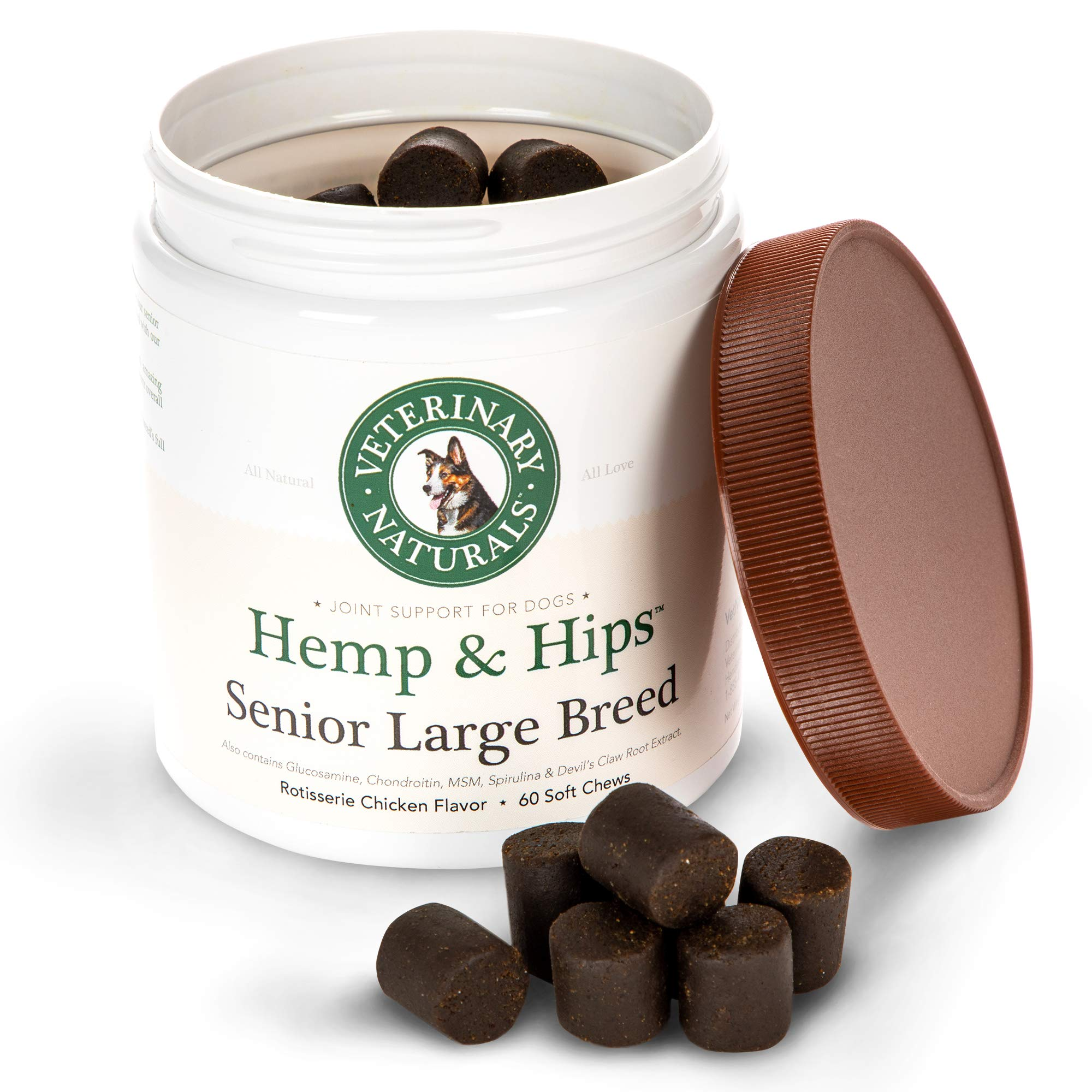 Veterinary Naturals Hemp & Hips Dog Joint Supplement - Glucosamine and Hemp Oil for Dogs - 'Senior Large Breed' Dog Arthritis Supplement - 60 Soft Chew Senior Dog Vitamins, Rotisserie Chicken Flavor by Veterinary Naturals (Image #3)
