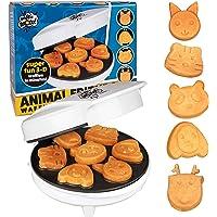 CucinaPro Waflera pequeña de figuras de animales - hace 7 panqueques divertidos, diferentes formas - waflera eléctrica…