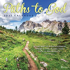 TF PUBLISHING 2021 Paths to God Monthly Wall Calendar - Inspirational Scenic Planner - With Religious Verses - Home or Office - Gloss 12