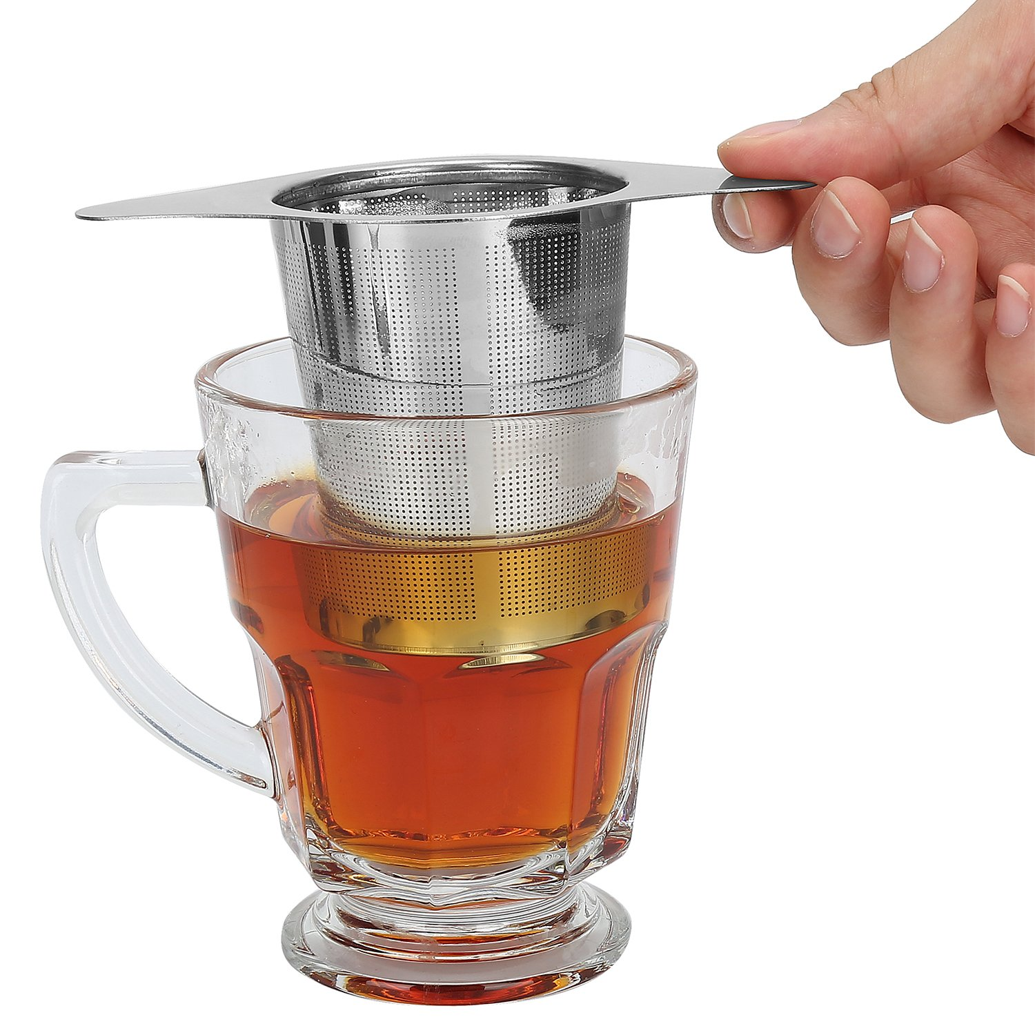 Tea Infuser,Tea Strainer,2 PACK 304 Stainless Steel Water Filter with Double Handles for Hanging on Teapots, Mugs, Cups to steep Loose Leaf Tea and Coffee,Cold Brew Coffee Maker. FDA Approved. by INTEYE (Image #7)