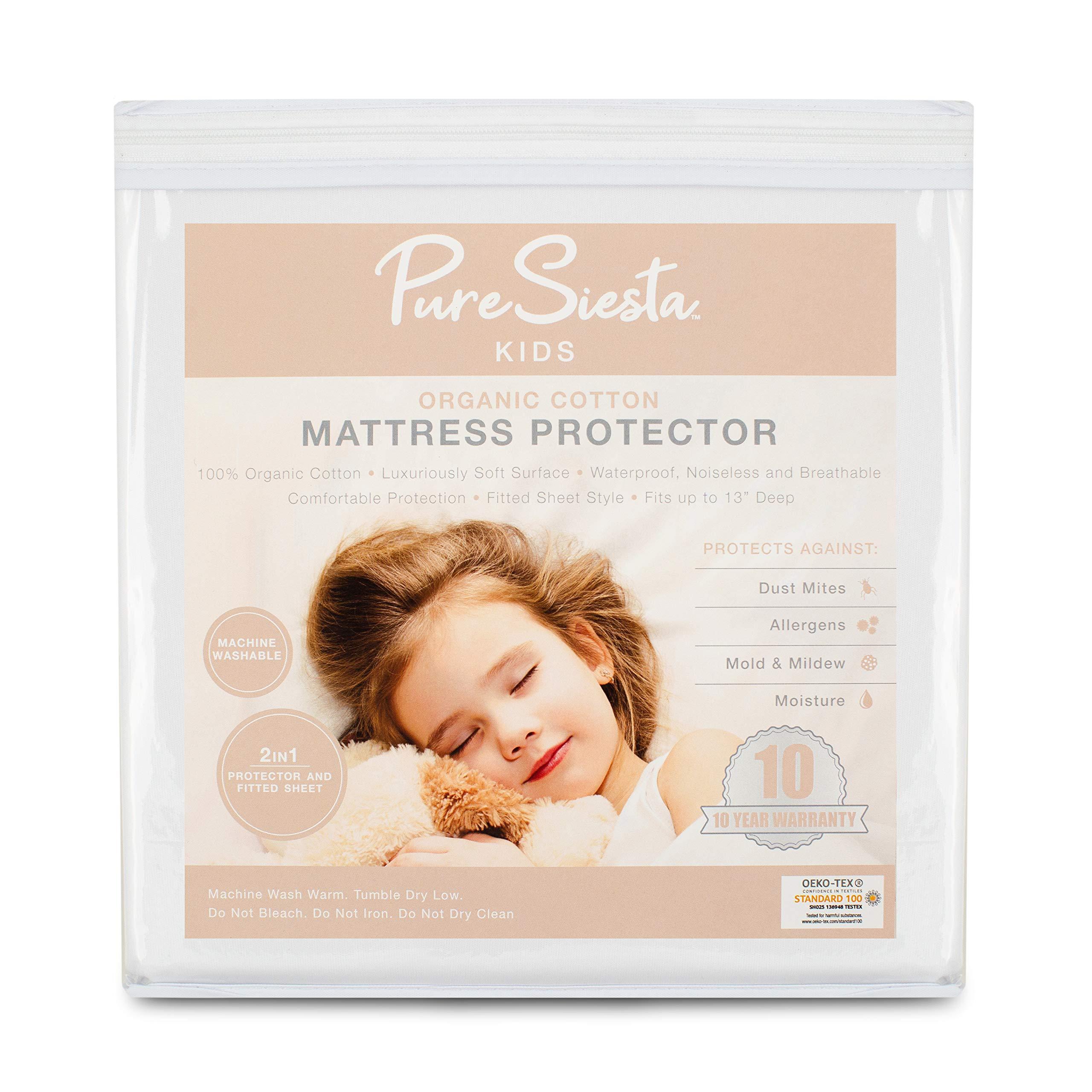 PURE SIESTA Kids 100% Organic Cotton Sheet Organic Mattress Cover Protective Mattress Cover Waterproof Mattress Pad Zipper Bed Bug Protector Hypoallergenic Non-Toxic 10 Year Warranty (Twin)