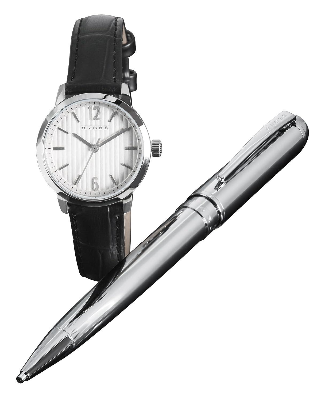 Cross Geschenk-Set Women'Herren-Armbanduhr 1725.1562 Analog-Anzeige und schwarzem Lederarmband CR4002