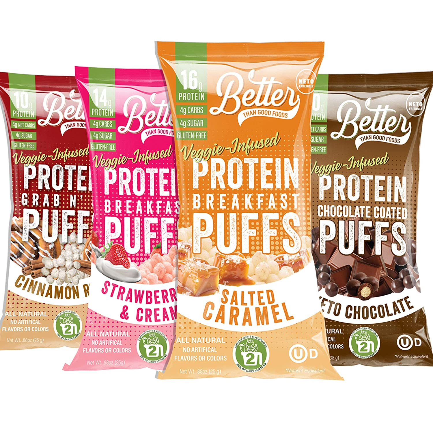 New BETTER THAN GOOD Keto Protein Puffs | 16g Protein, 2 Servings of Fruits & Veggies | Paleo, Low Sugar, Low Calories, Gluten Free, Diabetic Friendly Keto Snacks (Sweet Sampler 4 pack)