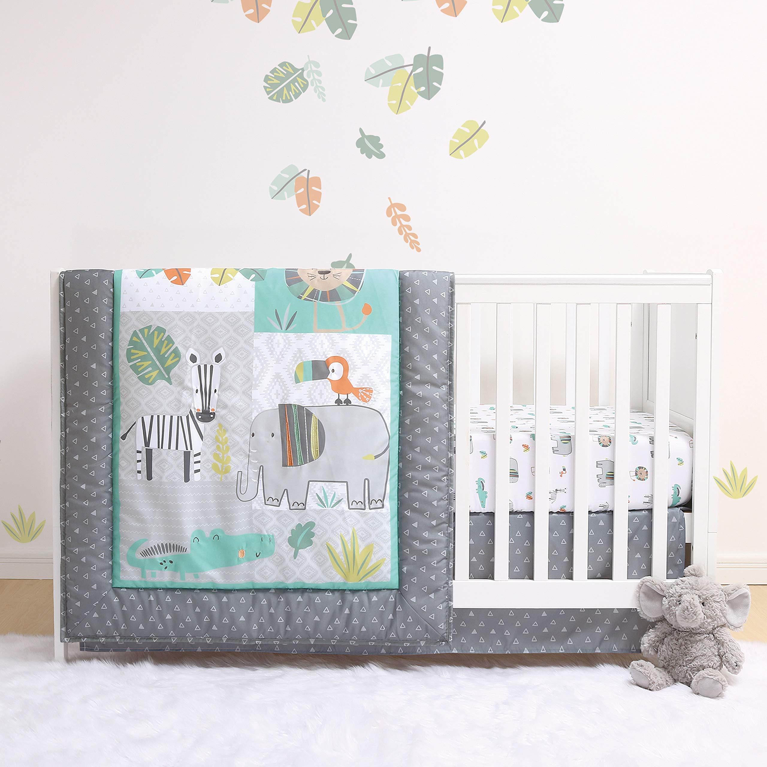 100/% Cotton Breathable /& Hypoallergenic TEALP Crib Bumper Blue Bear Fox Nursery Cot Bed Bumper Baby Cot Bumper Padded 210cm x 30cm