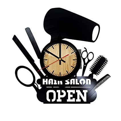 Home & Crafts Hair Salon Decor Vinyl Wall Clock –Handmade Gift for any Occasion –