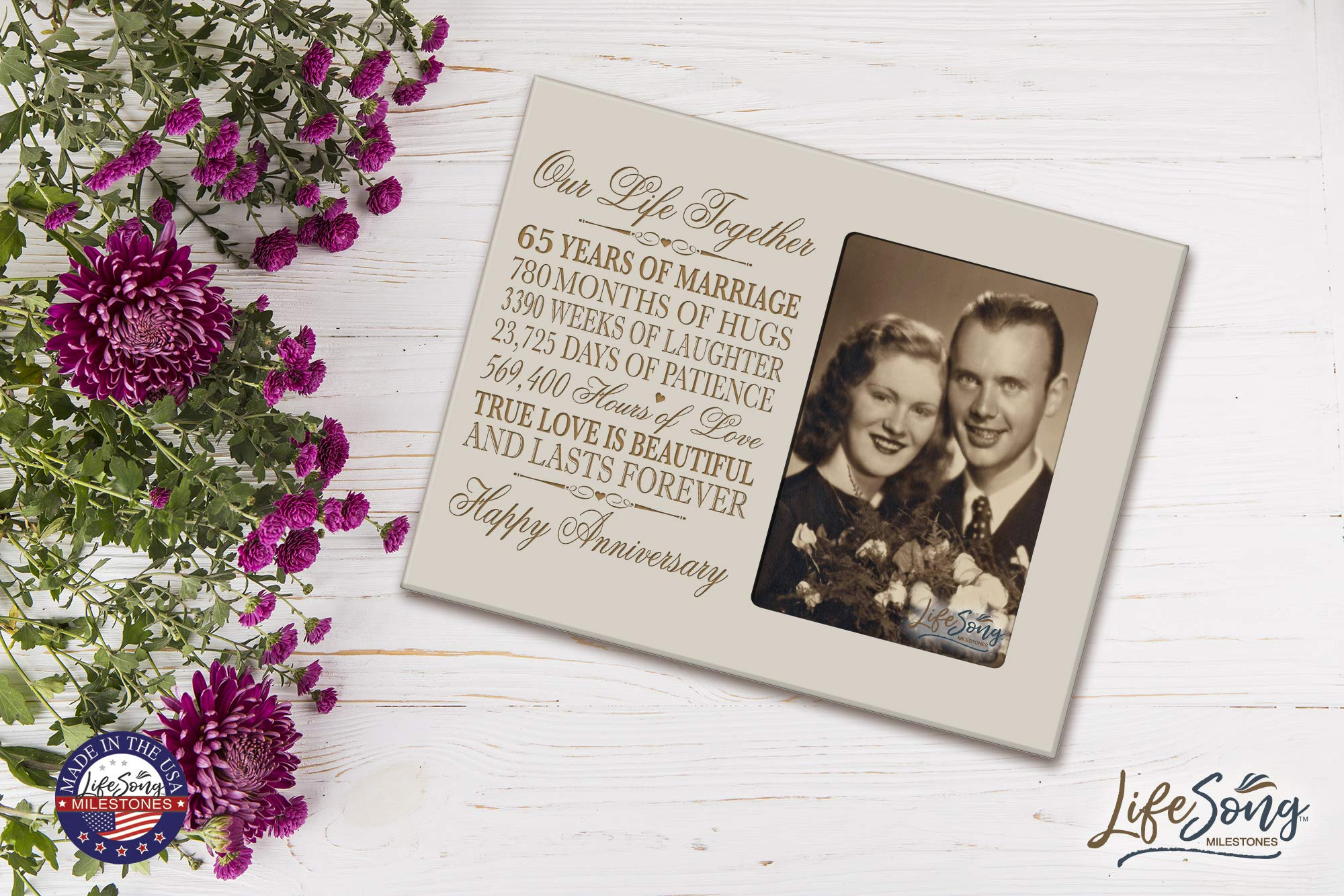 LifeSong Milestones 65th Year Wedding for her him Couple 65 Year Wedding for Parents Celebration Gift Picture Frame Holds 4x6 Photo 8'' H X 10'' W (Ivory) by LifeSong Milestones (Image #4)