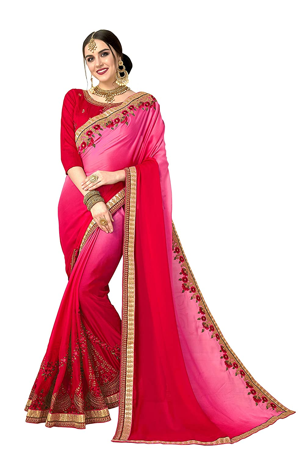 Glory Sarees Women's Rangoli Silk Padding Saree (luxury106_Pink)